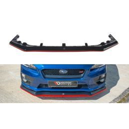 Maxton design Lame Du Pare-Chocs Avant / Splitter V.3 Subaru Wrx Sti Gloss Black + Red