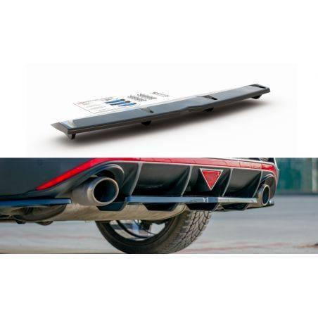 Central Arriere Splitter (avec une barre verticale) Hyundai I30 N Mk3 Fastback  Noir Brillant