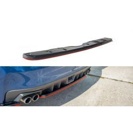Central Arrière Splitter V.2 Subaru Wrx Sti Red + Carbon Look